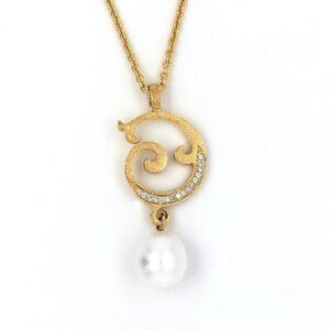 Gelbgold Anaänger mit Perle