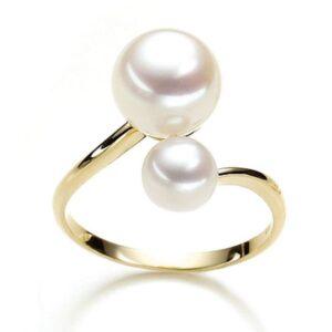 Gelbgold Ring mit Perlen